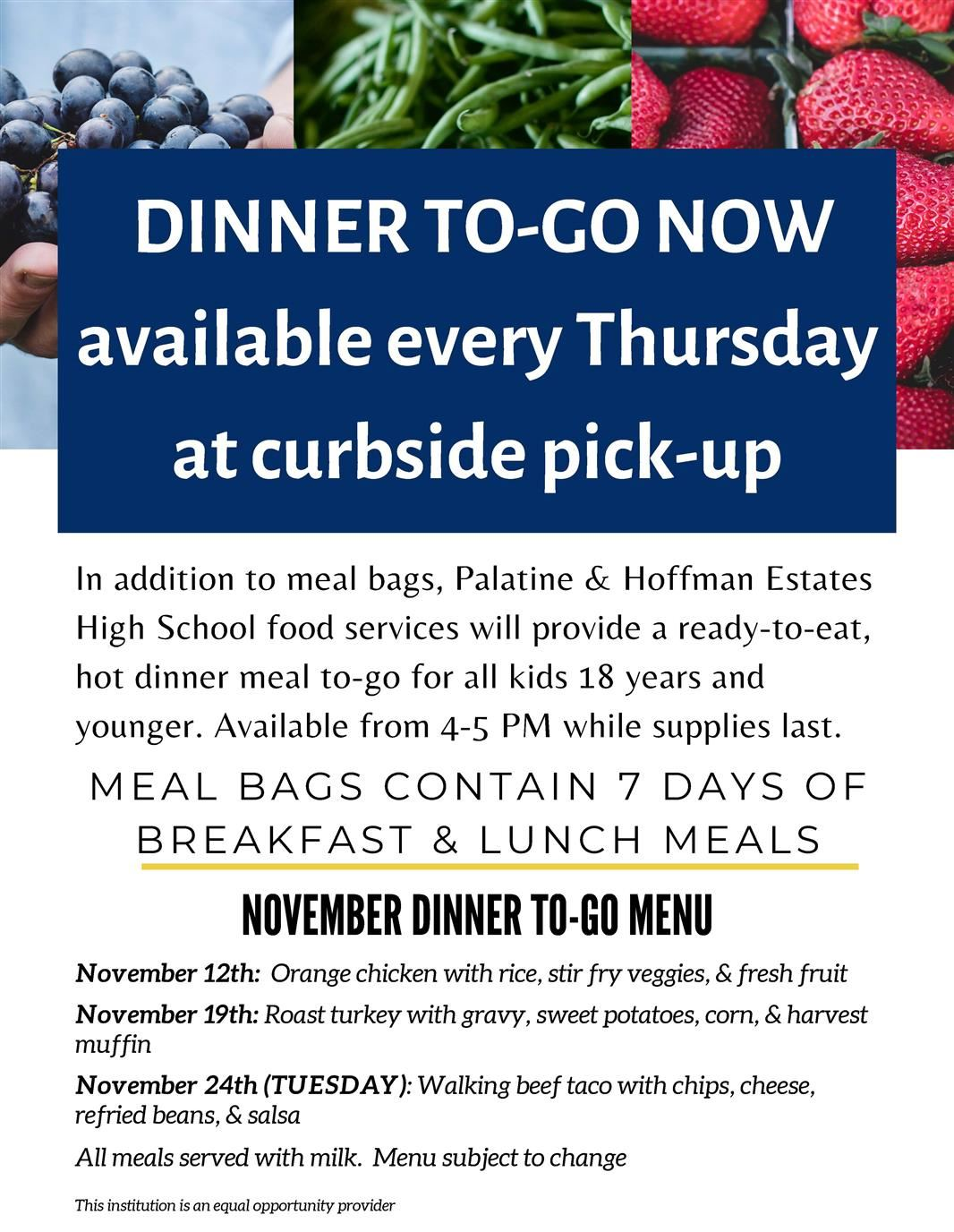November Dinner to go flyer